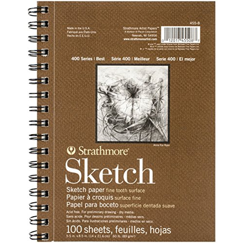 Strathmore 455-8 Strath Sketch S 400 5.5X8.5100SHT60LB, 5.5″8.5″, White 100 Sheets
