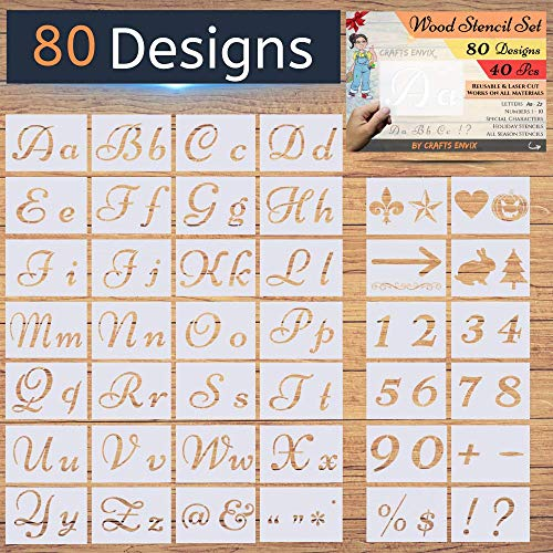 40 Pcs – Alphabet with Calligraphy Font Upper and Lowercase Letters – Letter Stencils for Painting on Wood – 80 Designs – New! – Reusable Holiday Plastic Art Craft Stencils with Numbers and Signs