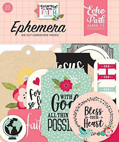 Echo Park Paper Company FWF183024 Forward with Faith Ephemera, Pink, Green, Teal, Black, tan