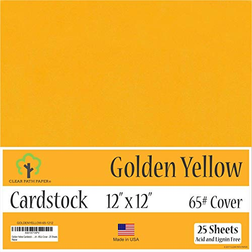 65Lb Cover – 25 Sheets – Golden Yellow Cardstock – 12 x 12 inch