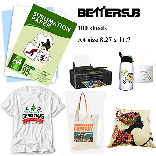 BetterSub Sublimation Paper Heat Transfer Paper 100 Sheets A4 Size 8.3″ x 11.7″ for EPSON HP Canon Inkjet Printer with Sublimation Ink in Light Color Shirts Hat Cap Mug Cup