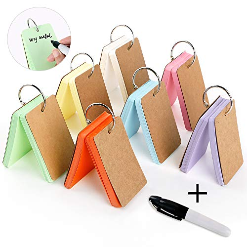 350 Pieces 3.5 x 2.2 Inches Multicolor Kraft Paper Binder Ring Easy Flip Flash Card/Study Cards/Memo Scratch Pads/Bookmark/Note Card/Index Card Stock/DIY Greeting Card50 Sheets per Set