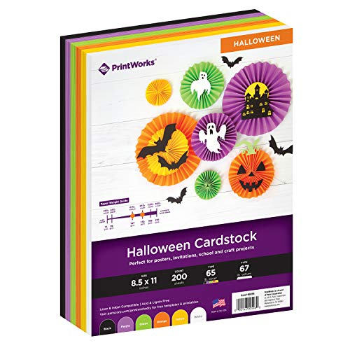 Printworks Halloween Cardstock, 6 Assorted Colors, Perfect for Holiday School and Craft Projects, 200 Sheets, 8.5″ x 11″ 00596 …