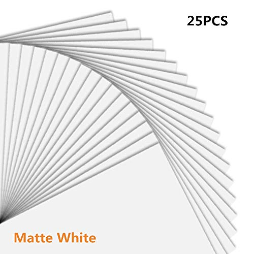 Premium Printable Vinyl Sticker Paper for Your Inkjet Printer – Dries Quickly and Holds Ink Beautifully – 25 Matte White Waterproof Decal Paper Sheets