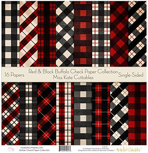 by Miss Kate Cuttables – Scrapbook Specialty Paper Single-Sided 12″x12″ Collection Includes 16 Sheets – Christmas – Pattern Paper Pack – Red & Black Buffalo Check