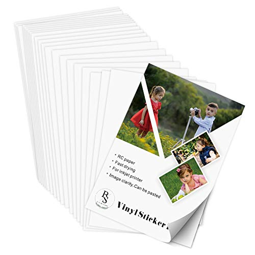 Permanent Vinyl Sticker Paper – 8.5″x11″ 20 Sheets – BS Matte White Self Adhesive Blank Waterproof RC Photographic Paper for Inkjet and Laser Printers