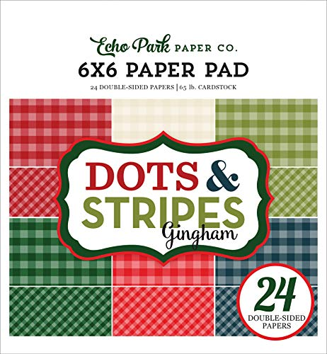 Echo Park Paper Company GH18046 Christmas Gingham 6×6 Pad Paper, 6-x-6-Inch, Red/Green/Tan/Cream/Navy/Black
