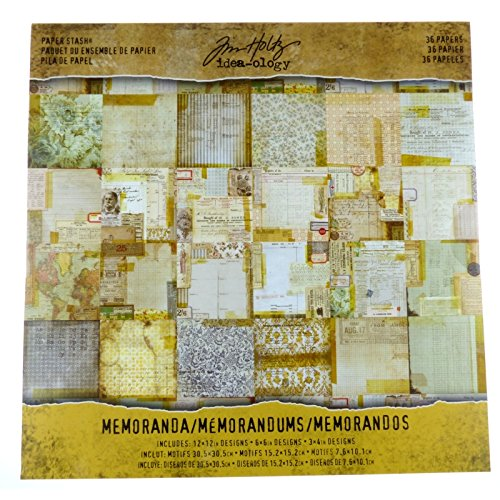 Tim Holtz Paper Stash – Memoranda Idea-Ology, 36 Card Stock Sheets, Various Size Designs TH93550