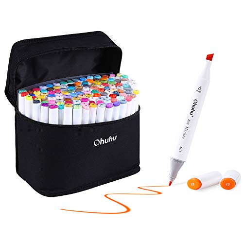 120 Colors Art Markers Set, Ohuhu Dual Tips Coloring Marker Pens for Kids, Fine and Chisel Tip Double-Ended Alcohol Based Drawing Markers for Sketch Adult Coloring Book, Great Christmas Gift Idea