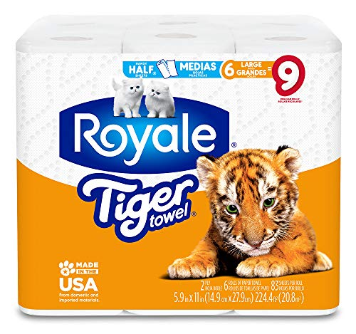 Royale Tiger Towel, 6 Large Rolls, 83 Sheets per Roll, 2-Ply Tiger Strong Paper Towels, Handy Half Sheets