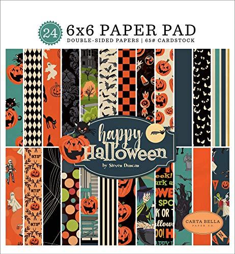 Carta Bella Paper Company CBHAL104023 Happy Halloween 6×6 Pad Paper, Orange, Black, Blue, Navy
