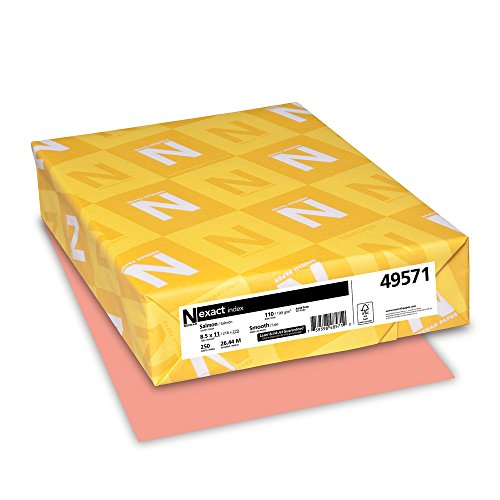 Exact Index Cardstock, 8.5″ x 11″, 110 lb/199 gsm, Salmon, 250 Sheets 49571