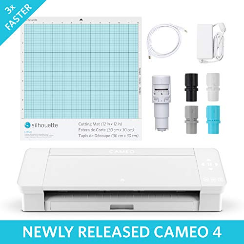 Silhouette Cameo 4 with Bluetooth, 12×12 Cutting mat, AutoBlade 2, 100 Designs and Silhouette Studio Software – White Edition