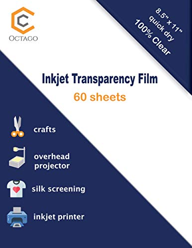 Octago Inkjet Transparency Paper 60 Sheets 100% Clear Transparency Film for Inkjet Printers/Print Color Transparency Sheets for Overhead Projector Transparencies and Screen Prints 8.5×11 Inches