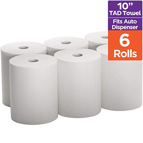 Industrial Paper Towels 10 x 800 White Roll Towels High Capacity Premium Quality TAD Fabric Cloth Like Texture Fits Touchless EnMotion Automatic Commercial Towel Dispenser Packed 6 Rolls