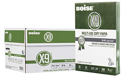 Boise X-9 Multi-Use Copy Paper, 8.5″ x 14″, 92 Bright, 20 lb, 10 Ream Carton 5,000 Sheets
