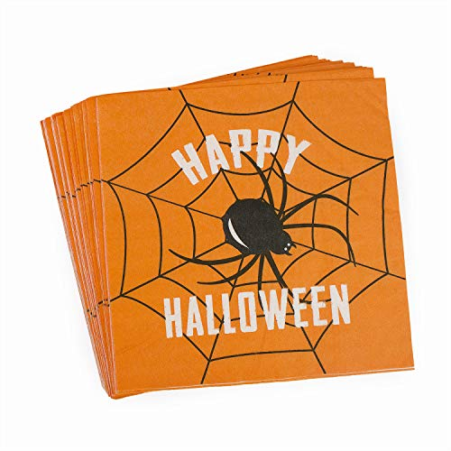 Orange Black Spider Paper Lunch Napkins, Unfolded 13×13 inches, 2-Ply, 60 count – Happy Halloween Party Napkins
