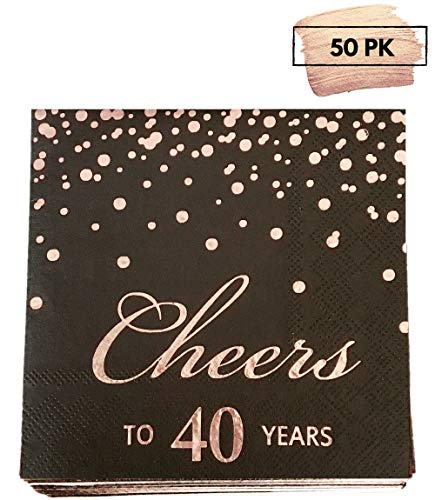 Rose Gold Foil Cocktail Napkins with Cheer 40 Years | Folded 5 x 5 Inches Disposable Party Napkins | 3-Ply Paper Beverage Napkins for 40th Birthday Decorations, Wedding Anniversary, Retirement, Black