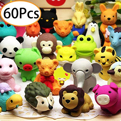 URSKYTOUS 60Pcs Animal Pencil Erasers Bulk Kids Japanese Come Apart Puzzle Eraser Toys for Party Favors, Classroom Prizes, Carnival Gifts and School SuppliesRandom Designs