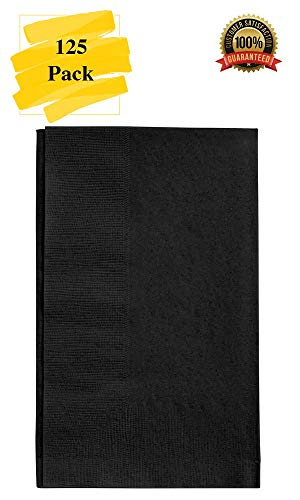 MM Foodservice 125 Count 2 Ply Paper Dinner Napkins Perfect for Weddings, Parties, Dinners or Events Black