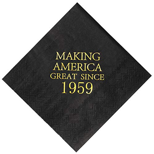 Crisky 60th Birthday Napkins Black and Gold Dessert Beverage Cocktail Luncheon Napkins 60th Birthday Decoration Party Supplies, Making America Great Since 1959, 50 Pack 4.9″x4.9″ Folded