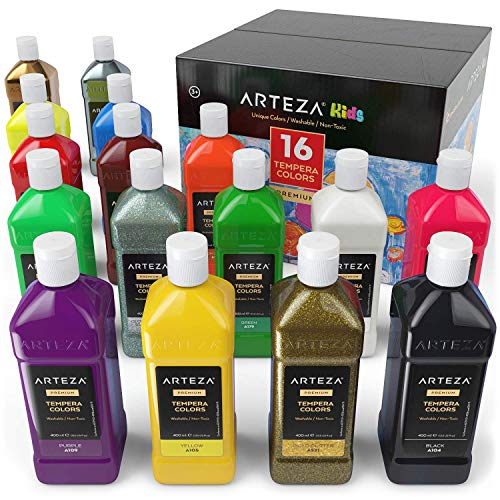 ARTEZA Tempera Paint Set for Kids 13.5 US fl oz./400 ml, 16 Rich, Non-Toxic, and Washable Colors Ideal for Finger Painting, Sponge Painting, and Poster Painting