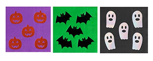 Cocktail Napkins – 102-Pack Luncheon Napkins, Disposable Paper Napkins Halloween Party Supplies, 3-Ply, 3 Foil Napkin Designs, Pumpkin, Bat, Ghost, Unfolded 10 x 10 Inches, Folded 5 x 5 Inches