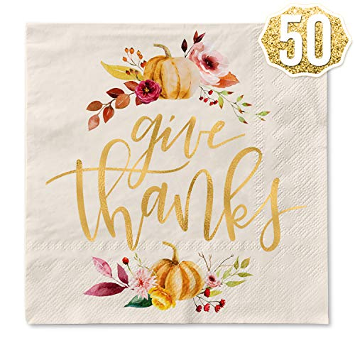 xo, Fetti Thanksgiving Gold Foil Napkins – 50 count | Give Thanks Decorations, 5 x 5 inches, 3ply, Autumn Leaves, Pumpkins, Fall Table Decor