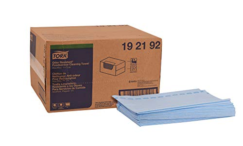 Tork 192192 Odor Resistant Foodservice Cleaning Towel, 1/4 Fold, 13″ Width x 24″ Length, Blue/Blue Stripe Case of 1 Box, 150 Cloths per Box