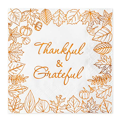 Crisky Thanksgiving Disposable Napkins Paper for Autumn Thanksgiving Dinner Party Decorations, Thankful and Grateful in Orange Foil, 50 Pcs, 3-Ply