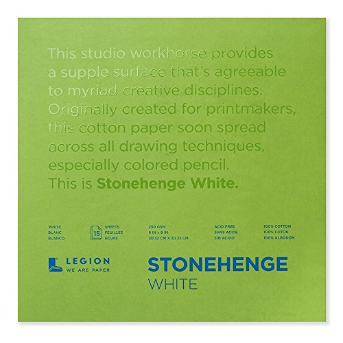 Legion Paper Stonehenge Pad L21-STP250WH88, 8 by 8 Inches, White Paper, 15 Sheets