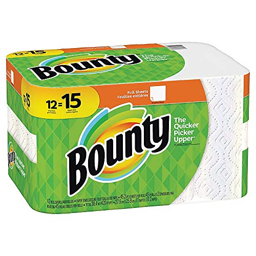 Bounty 74697 Paper Towels, 2-Ply, White, 45 Sheets/Roll, 12 Rolls/Carton