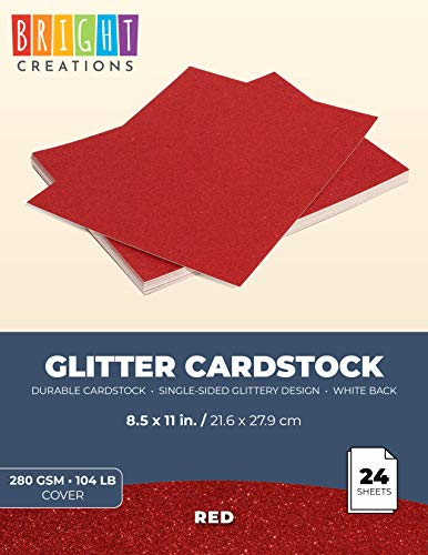 DIY Glitter Craft Paper Red – Bright Creations Glitter Cardstock Paper 24 Pack – 11 x 8.5 inches