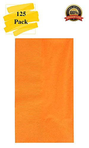 MM Foodservice 125 Count 2 Ply Paper Dinner Napkins Perfect for Weddings, Parties, Dinners or Events Orange