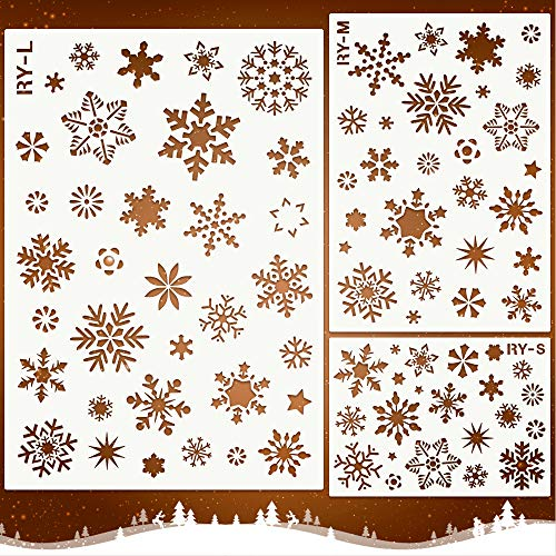 Snowflake Art Christmas Plastic Painting Craft Stencils Set Reusable Xmas Snow Flake Pattern DIY Decoration Tools for Glass Window Wall Door Wood – Mocoosy Christmas Snowflake Stencil Template