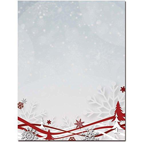 Snowflakes & Ribbons Letterhead Laser & Inkjet Printer Paper, 100 pack