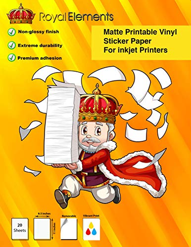 Extreme Durability – Machine Cutter Compatible – Royal Elements Printable Vinyl Sticker Paper for Inkjet Printers – Matte White – 20 Waterproof Adhesive Decal Sheets