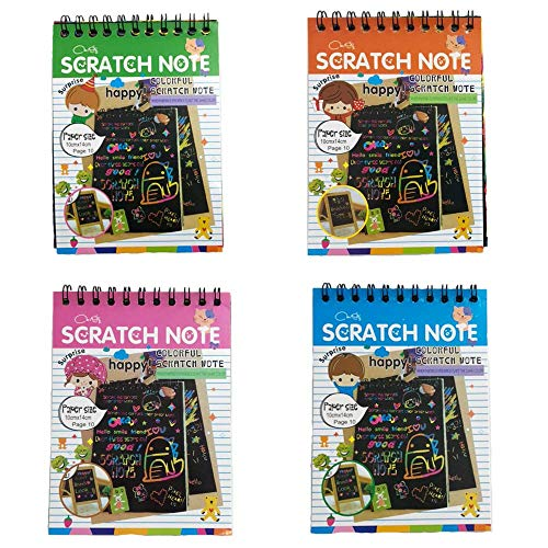 4 Pack Scratch Note Pads,Sketch Art Note Pads, Magic Scratch Art Painting Scratch with Wooden Stylus