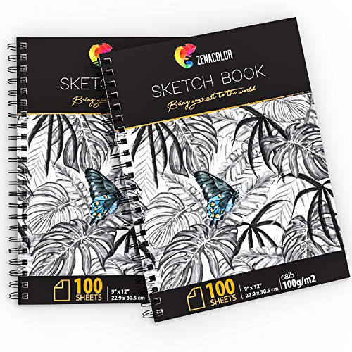 Blank Artist Sketchbook with Hardback Cover, Easy Tear Out for Drawing Pad – 2 x Sketch Pad with White Drawing Paper 100 g – 200 Sheets, Professional Sketch Book Set, 9″x12″ with Spiral Bound