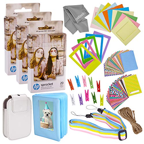 Sticker Paper for HP Sprocket 2-in-1 Portable Printer – Sticky 2×3 Sheets for Printing Pocket Size Phone Pictures – with Photo Album, Case, Frames, Clips – 60 Pack – Zink Photo Paper and Frames Kit