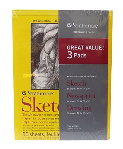 Sketch, Newsprint, & Drawing Pads – Strathmore 3 Pad Art Set