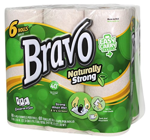 Sellars 54486 Bravo Naturally Strong Paper Towels, Natural Pack of 24