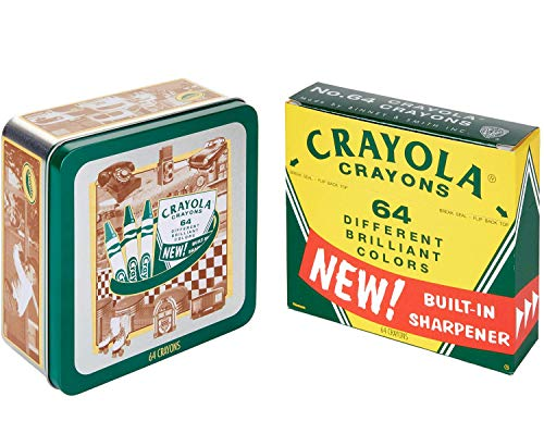 Crayola Vintage-Style Crayon Set with Collectible Tin, Stocking Stuffer Gift Set – 64 Count