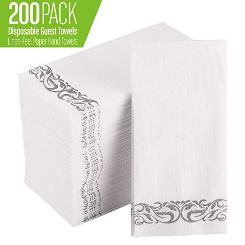 200 Pack Disposable Guest Towels Soft and Absorbent Linen-Feel Paper Hand Towels Durable Decorative Bathroom Hand Napkins for Kitchen,Parties,Weddings,Dinners or Events,White and Silver