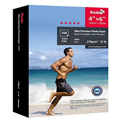 Koala Ultra Premium Photo Paper 4×6 inch Satin Heavyweight 72lb for inkjet printer 100 Sheets