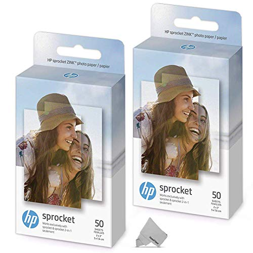 2 Pack of 50 HP Sprocket Photo Paper Sheets, Exclusively for HP Sprocket Portable Photo Printer, 2×3-inch, 100 Sticky-Backed Sheets + HeroFiber Ultra Gentle Cleaning Cloth