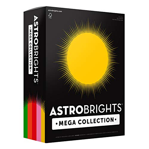 "Astrobrights Mega Collection Colored Cardstock, 8 ½ x 11, 65 lb/176 GSM, ""Retro"" 5-Color Assortment, 320 CT. 91688″Amazon Exclusive"" – More Sheets!"