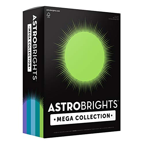 "Astrobrights Mega Collection Colored Cardstock, 8 ½ x 11, 65 lb/176 GSM, ""Frosty"" 5-Color Assortment, 320 CT. 91689″Amazon Exclusive"" – More Sheets!"