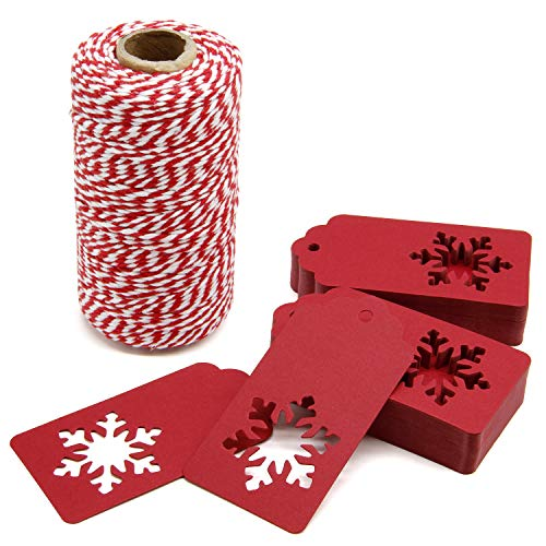 300 Feet Red and White Twine and 100 PCS Gift Tags Christmas Snowflake Shape Kraft Paper Tags Price Tags by Blisstime