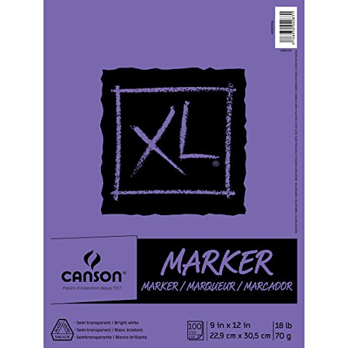 Canson XL Series Marker Paper Pad, Semi Translucent for Pen, Pencil or Marker, Fold Over, 18 Pound, 9 x 12 Inch, White, 100 Sheets 400023336